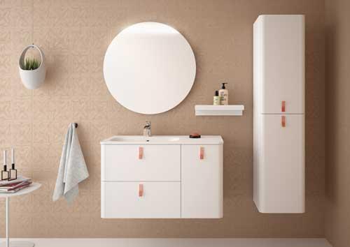Mueble de baño Uniiq Salgar color blanco y tiradores rosa